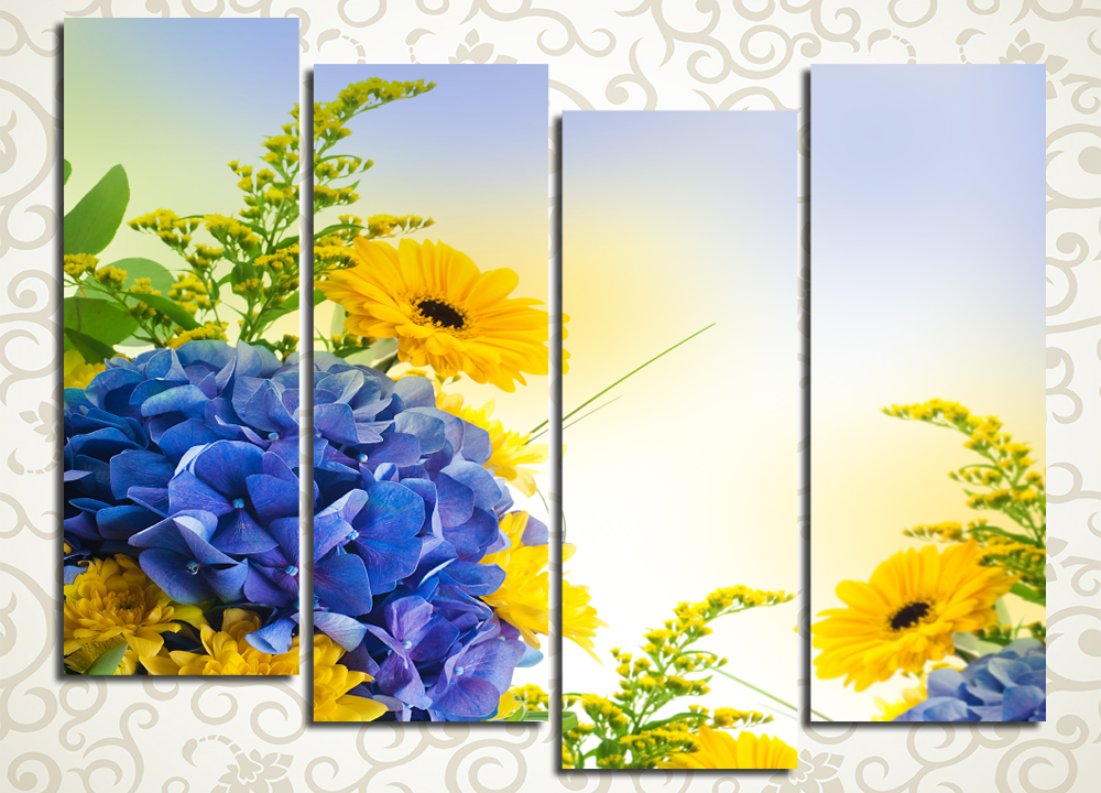 Модульная картина Красочное летоЦветы и фрукты<br><br>