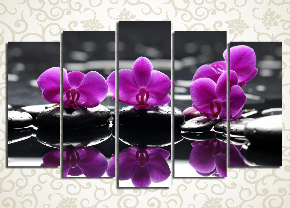 Модульная картина Сиреневые орхидеи