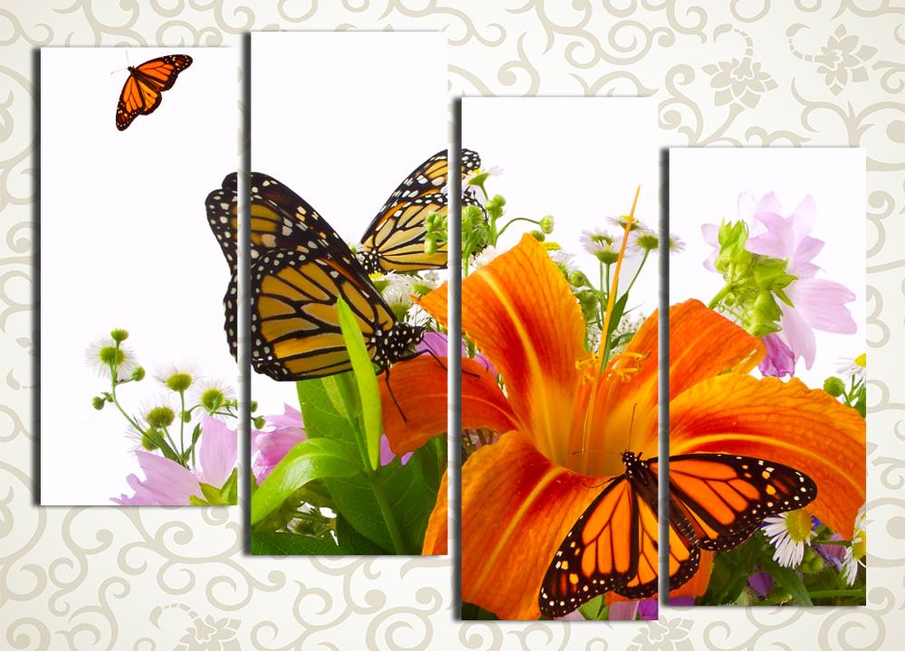 Модульная картина Бабочки на лилиях