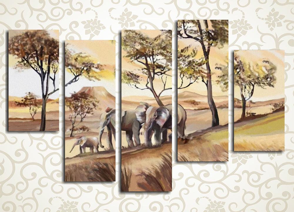 Модульная картина Слоны в саванне