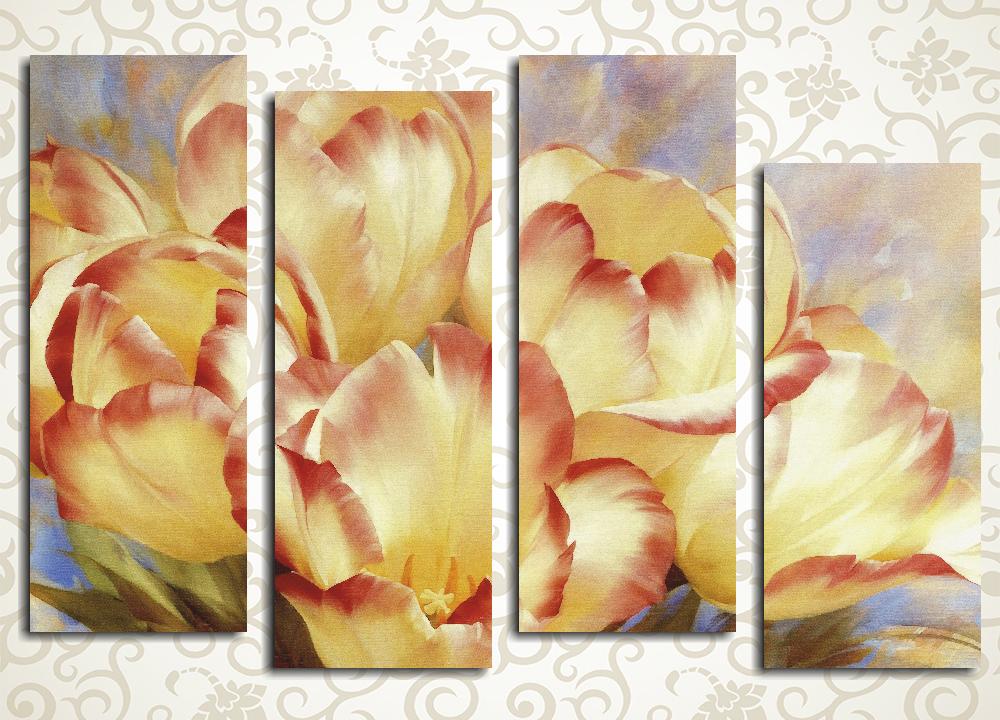 Модульная картина Букет желтых тюльпанов