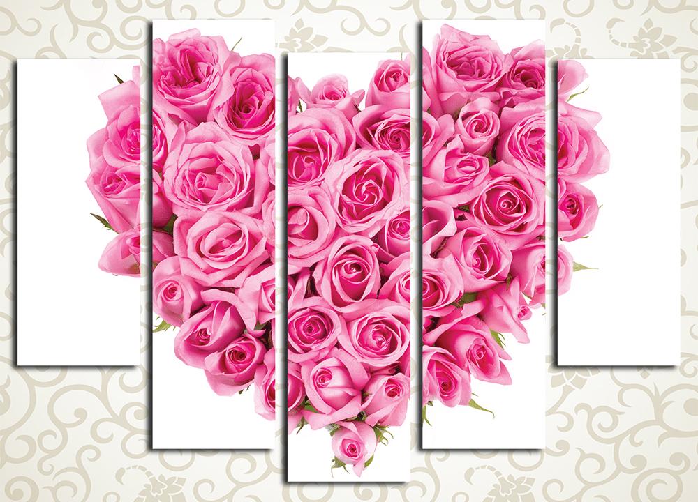 Модульная картина Сердце из роз