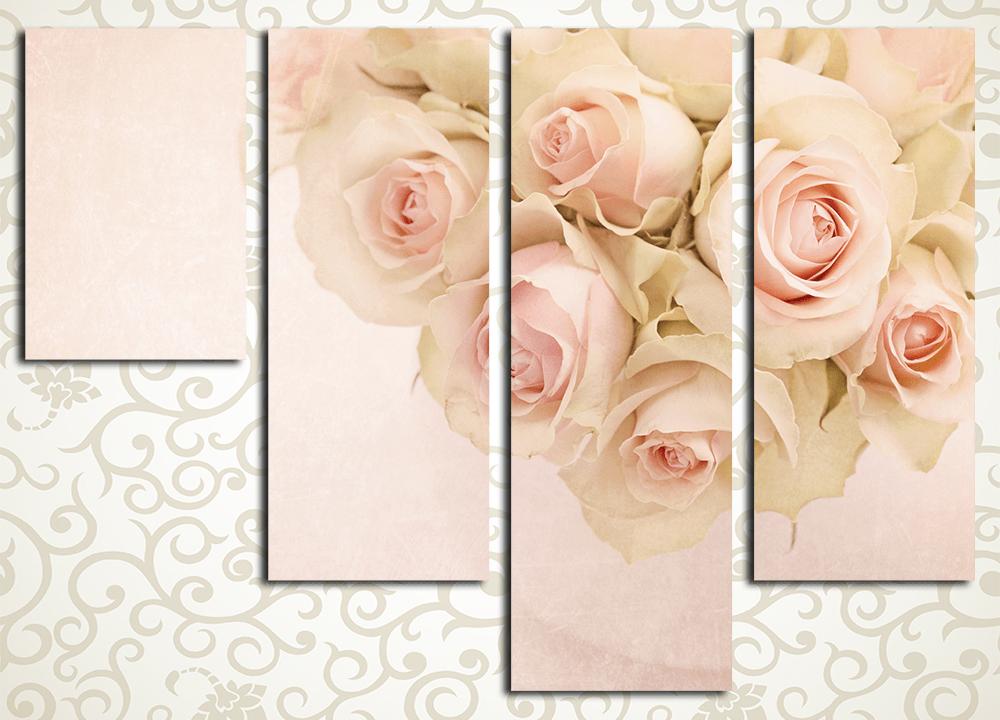 Модульная картина Нежный букет роз
