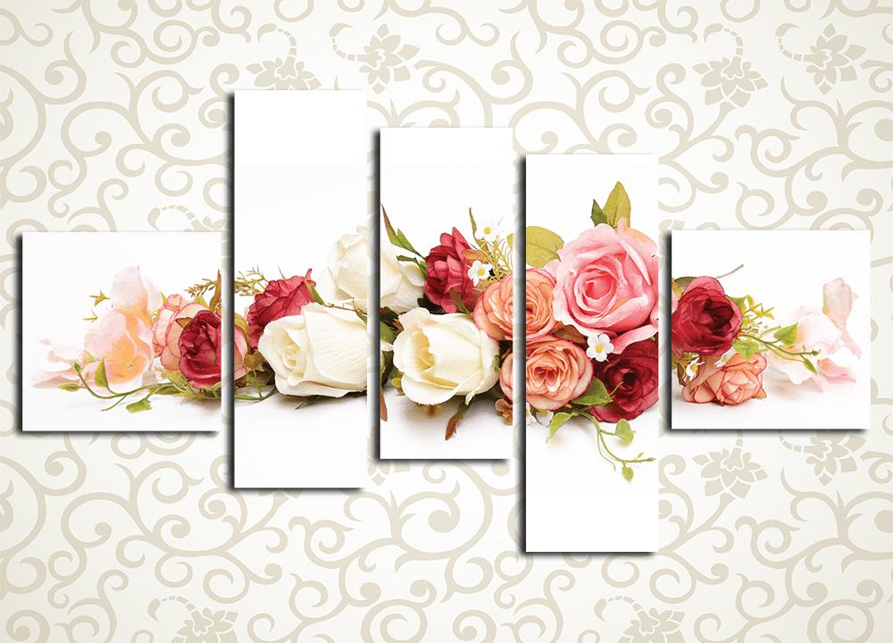 Модульная картина Розовое разноцветие
