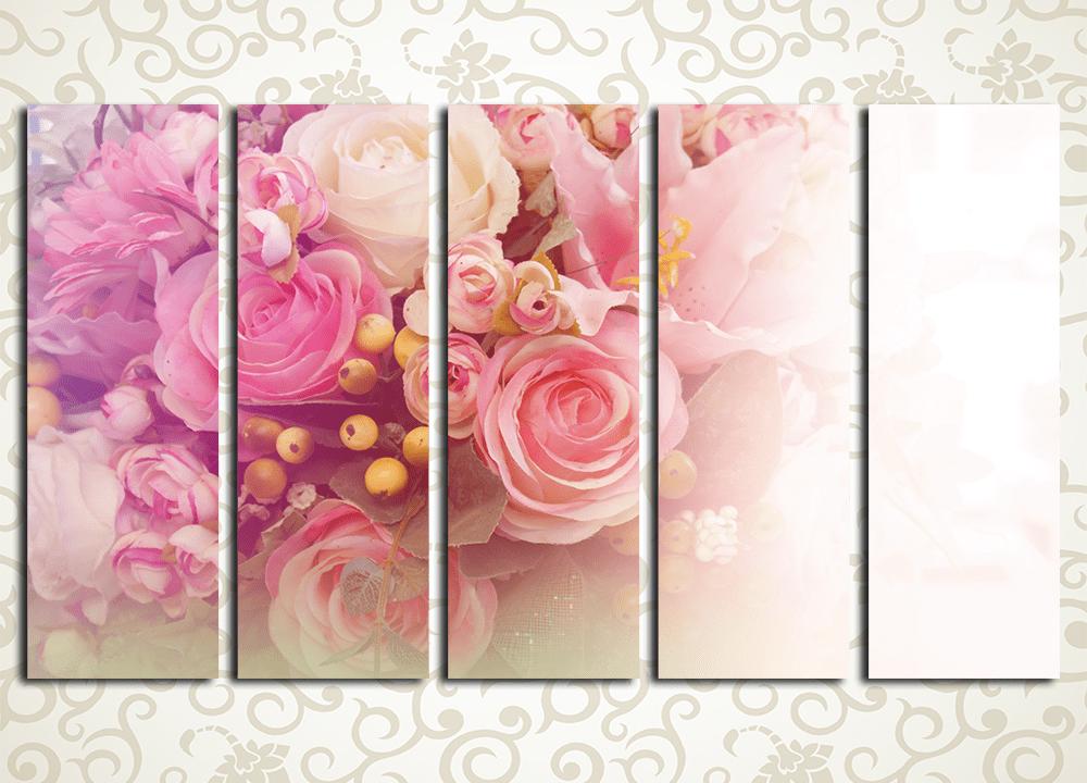 Модульная картина Романтичный букетЦветы и фрукты<br><br>