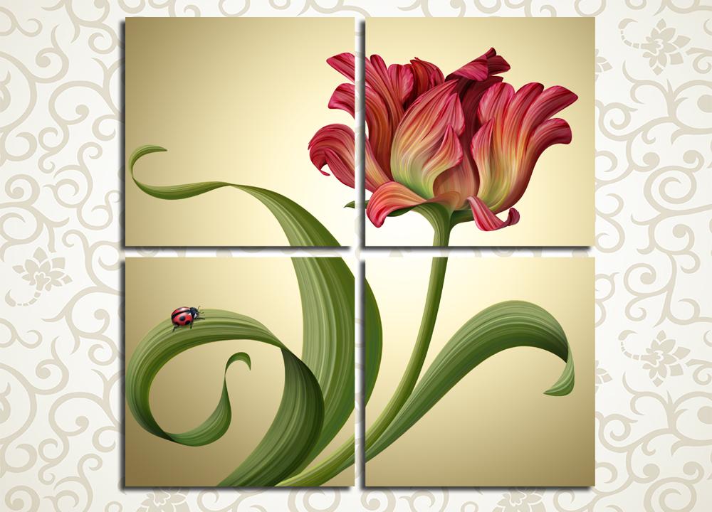 Модульная картина Сказочный рисунок тюльпана