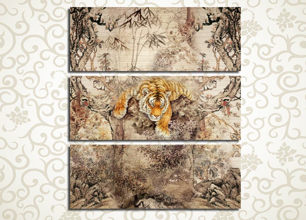 Модульная картина Крадущийся тигр