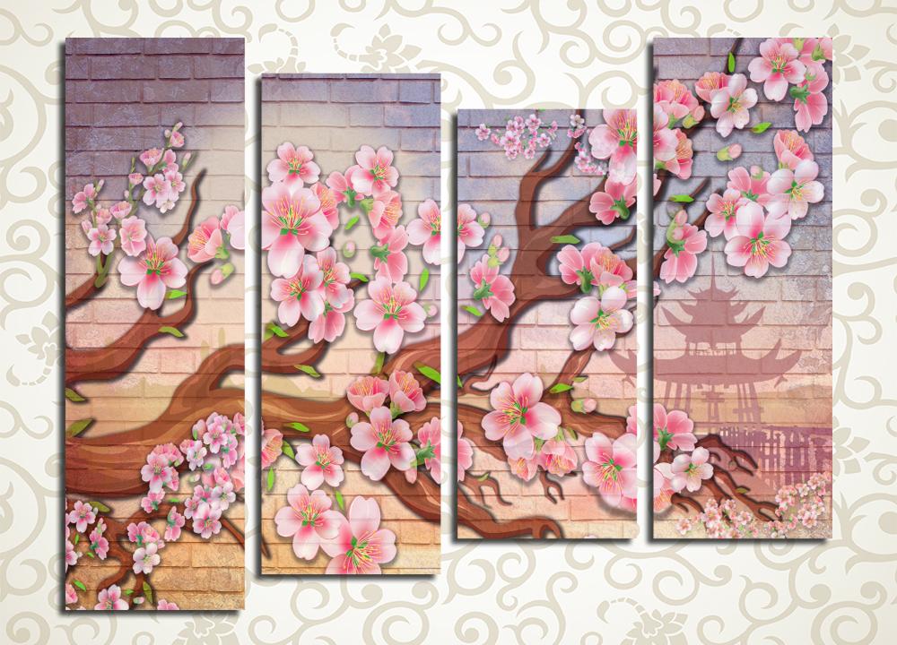 Модульная картина Красочная ветка сакуры