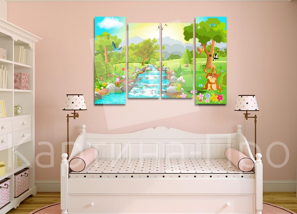 Модульная картина Пейзаж с зайчиками от Kartina-Pro