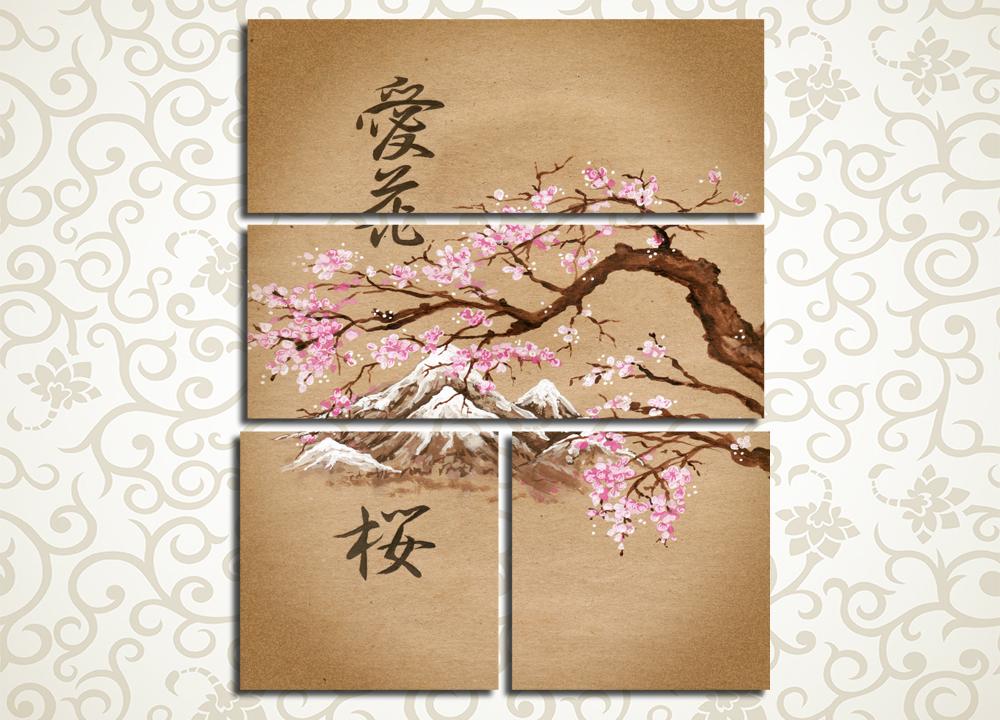 Модульная картина Цветение сакуры в горах