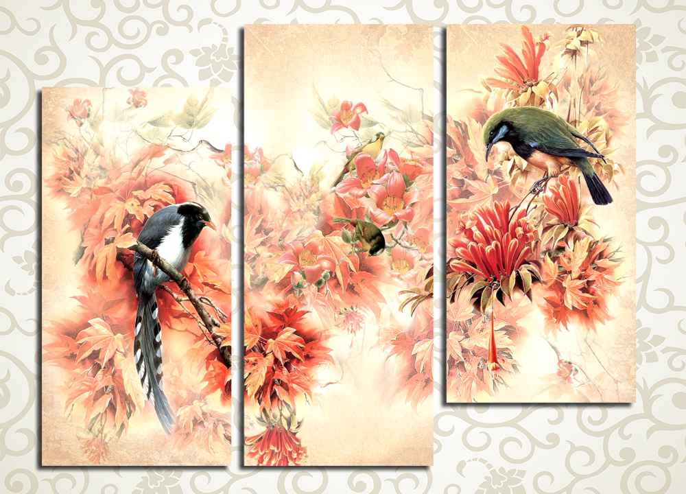 Модульная картина Птицы и прекрасные цветы