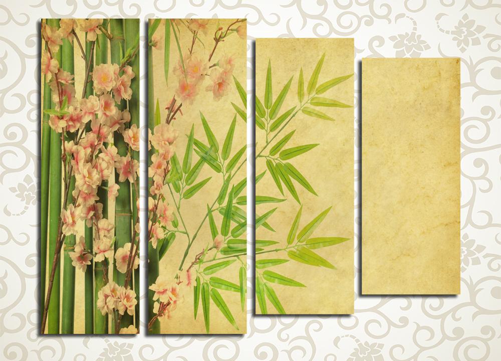 Модульная картина Орхидея и побеги бамбука