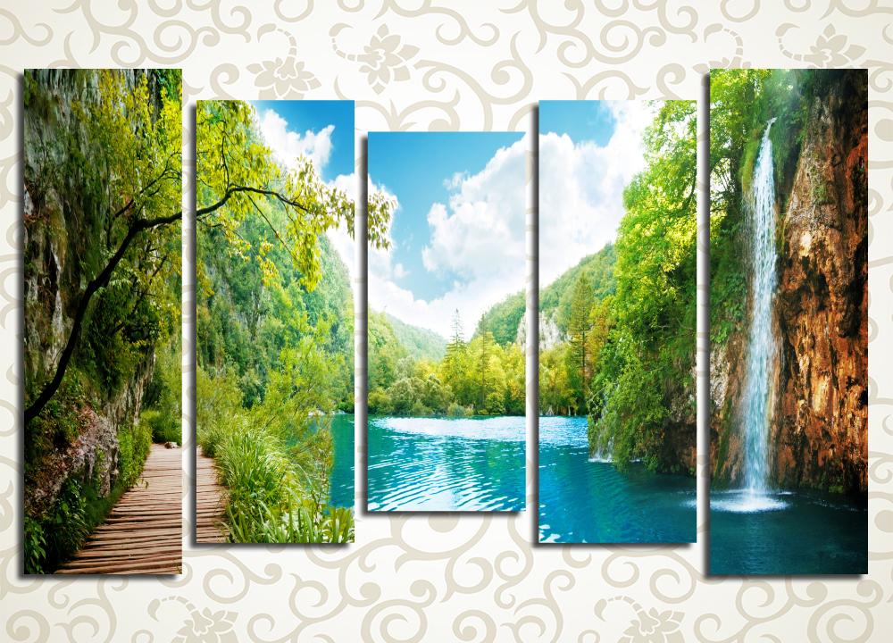 Модульная картина Дорожка среди водопадов