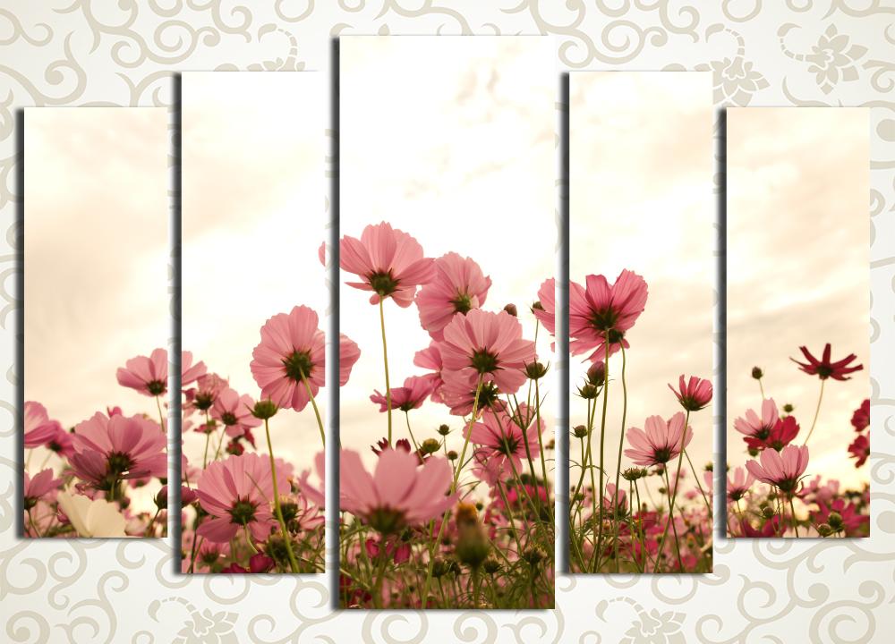 Модульная картина Цветы на закате