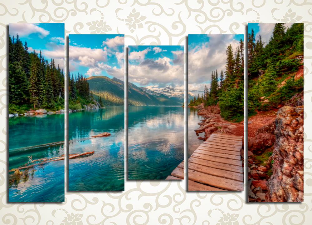 Модульная картина Загадочное горное озеро