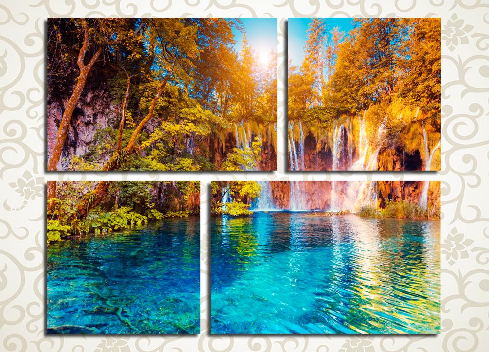 Модульная картина Лазурный водопад