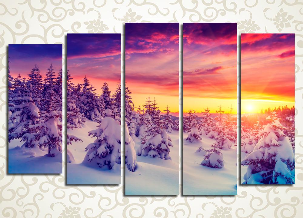 Модульная картина Красочный зимний закат