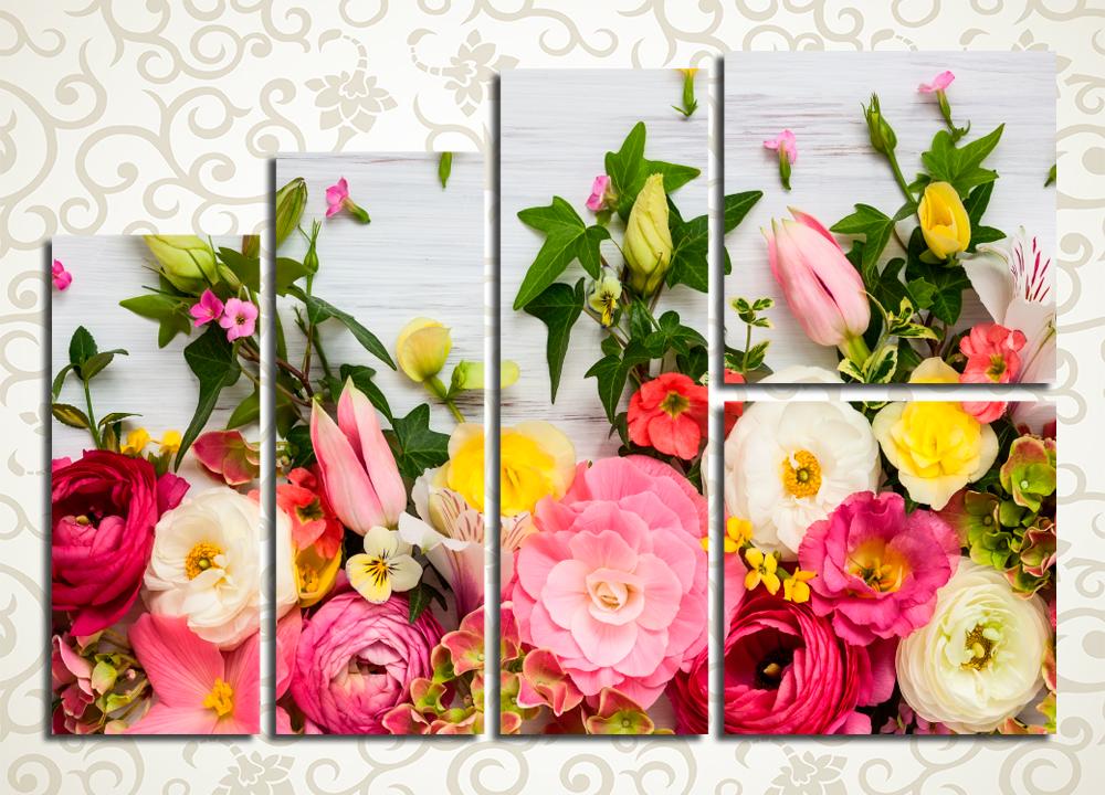 Модульная картина Яркое цветочное панно
