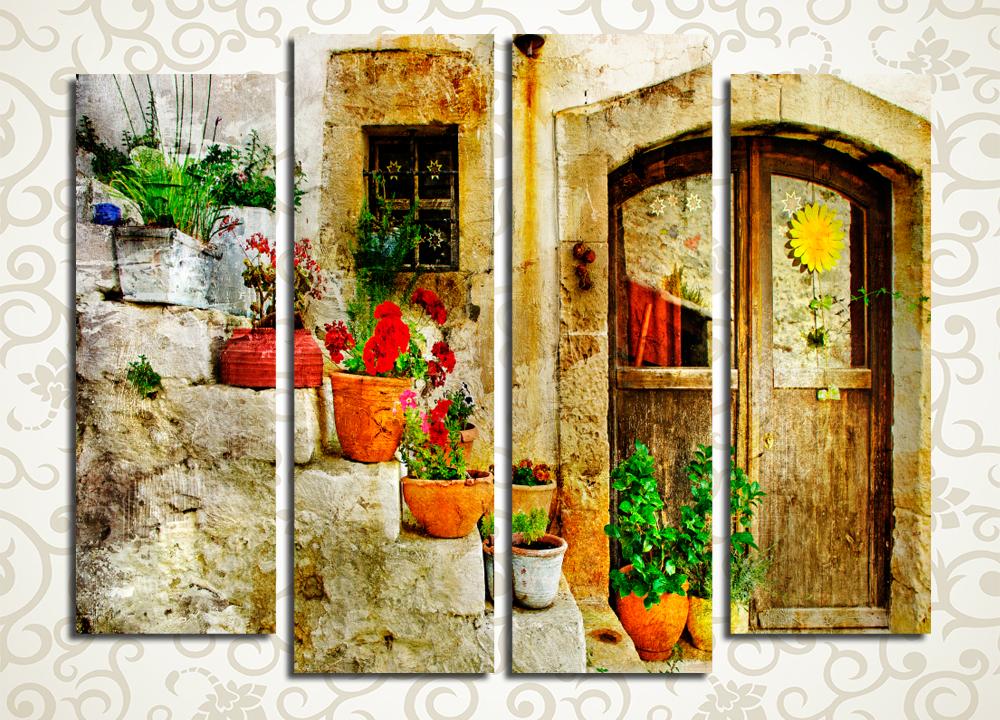 Модульная картина Лестница с цветами