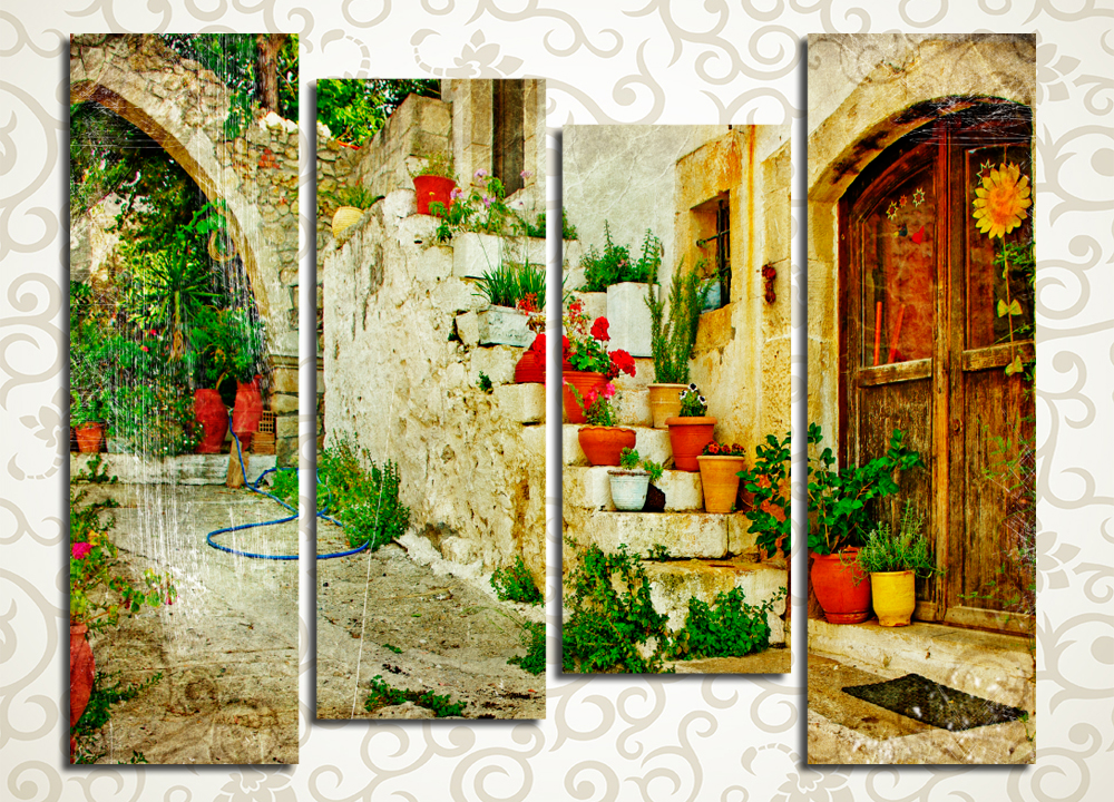 Модульная картина Старая греческая улочка