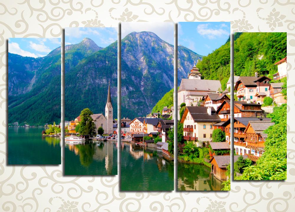 Модульная картина Альпийская деревня