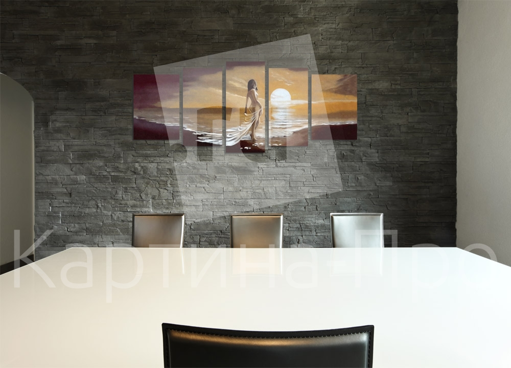Модульная картина Женский силуэт в закате от Kartina-Pro