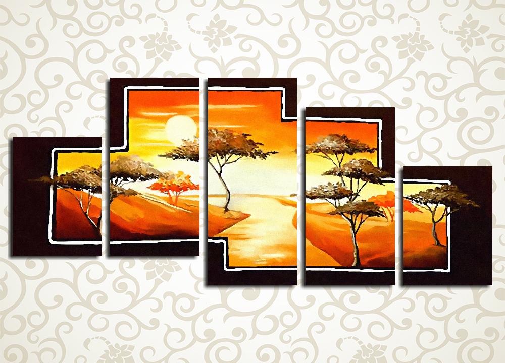 Модульная картина Закат над африканской рекой