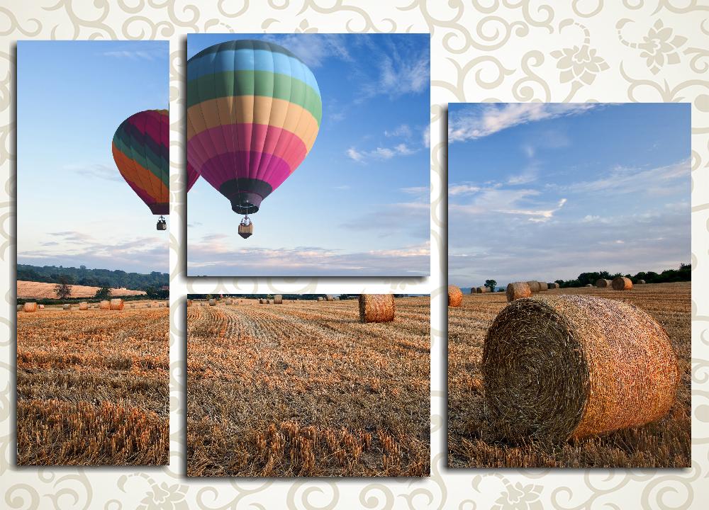 Модульная картина Воздушные шары над полем