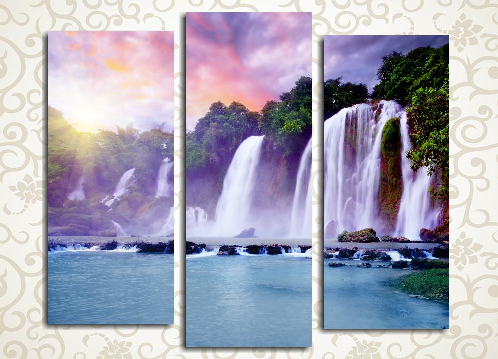 Модульная картина Рассвет над водопадом