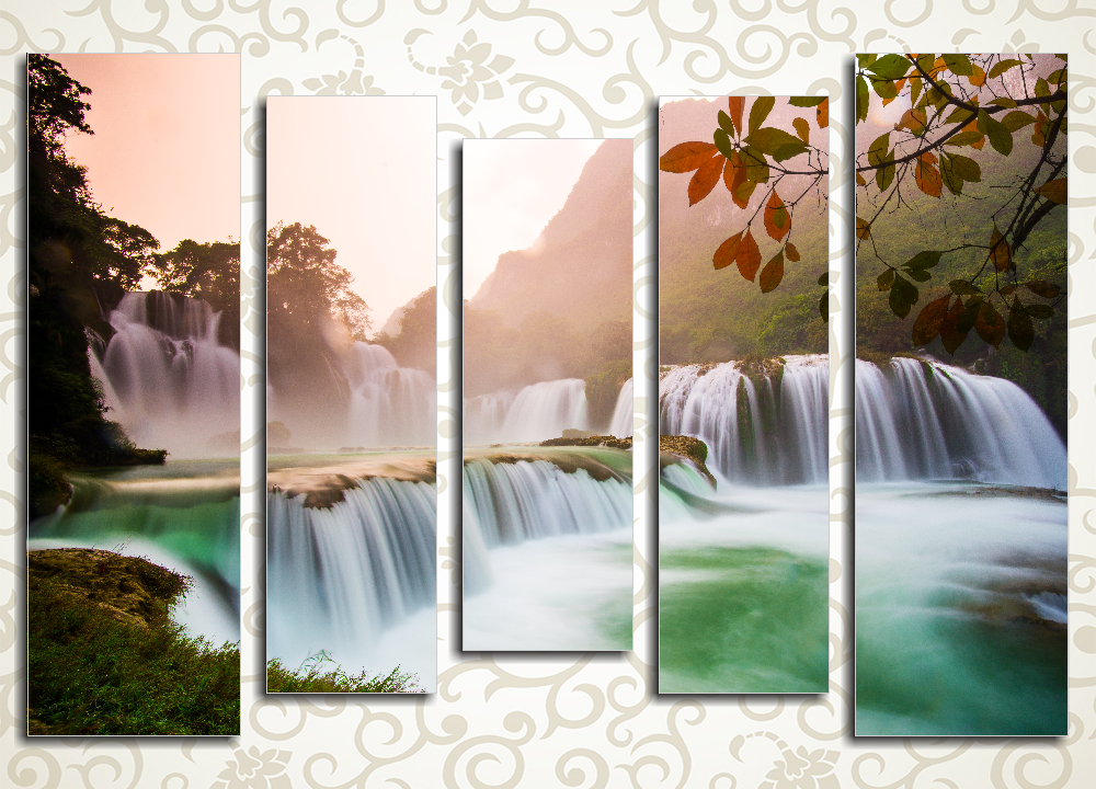 Модульная картина Водопад в горах Вьетнама