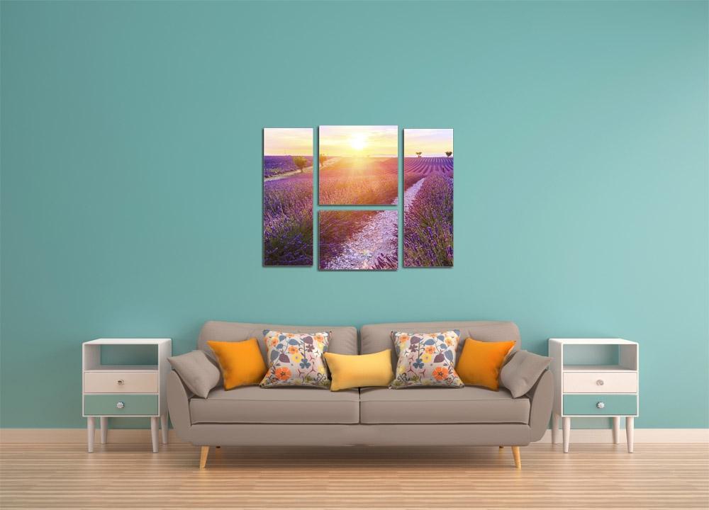 Модульная картина Лучи солнца над полем лаванды