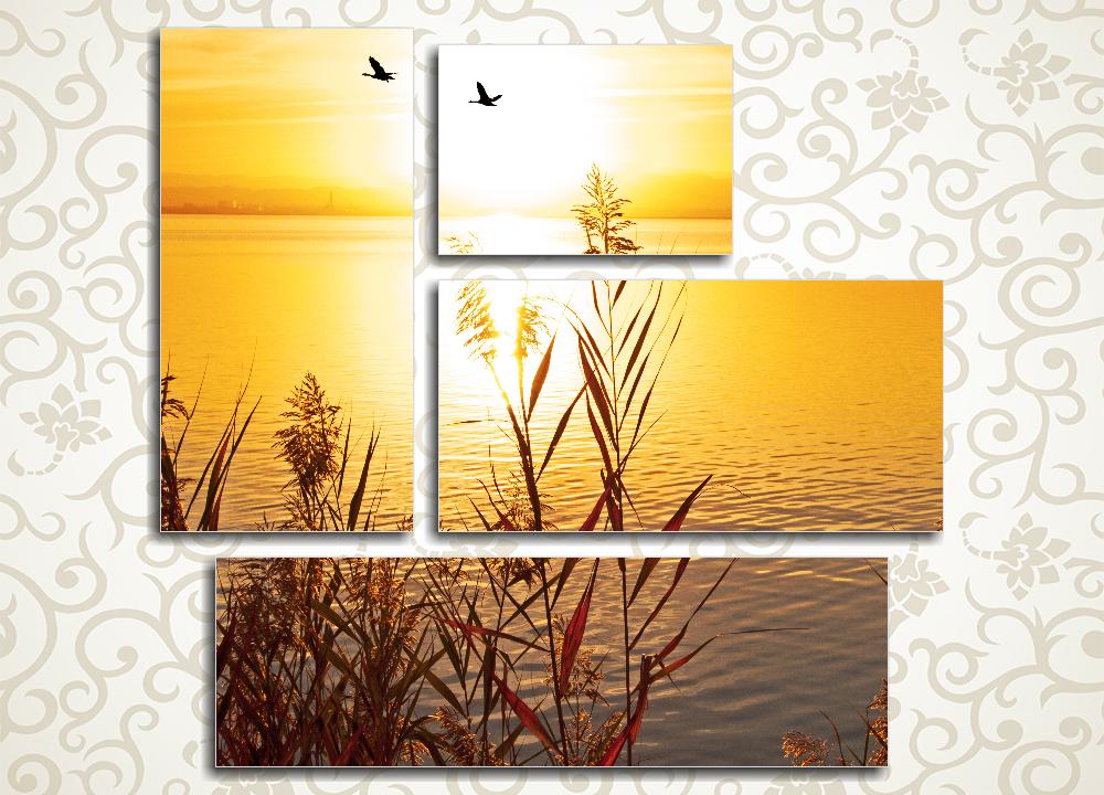 Модульная картина Птицы в закате