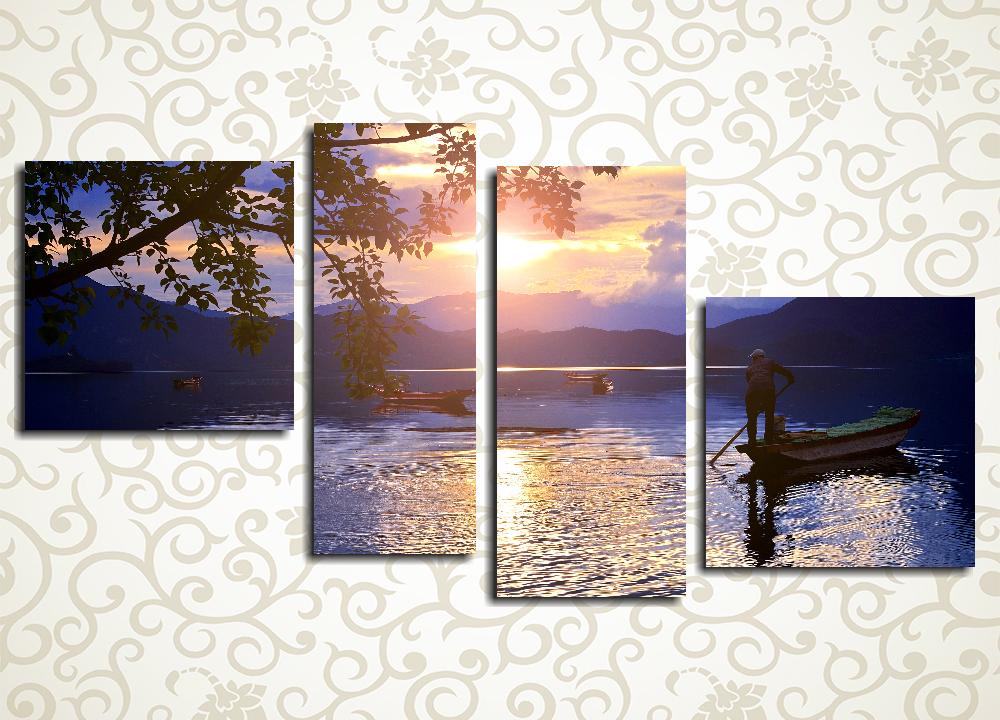 Модульная картина Рыбаки на закате