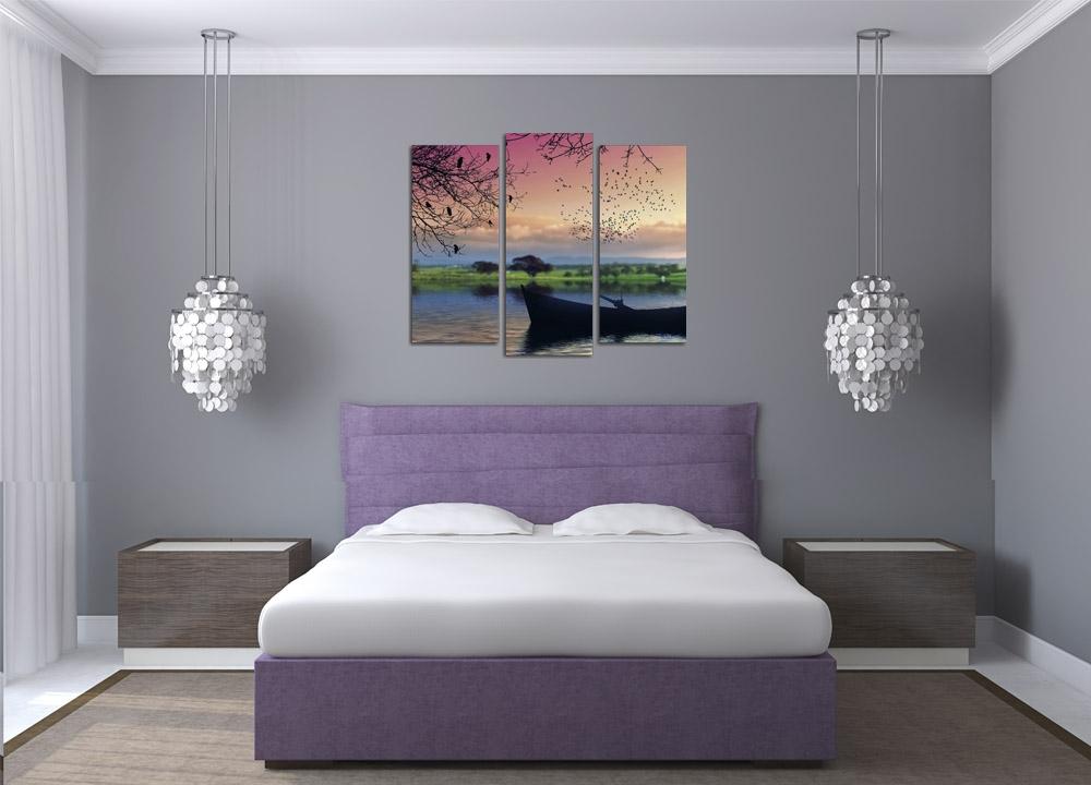 Модульная картина Зелено-розовый закат