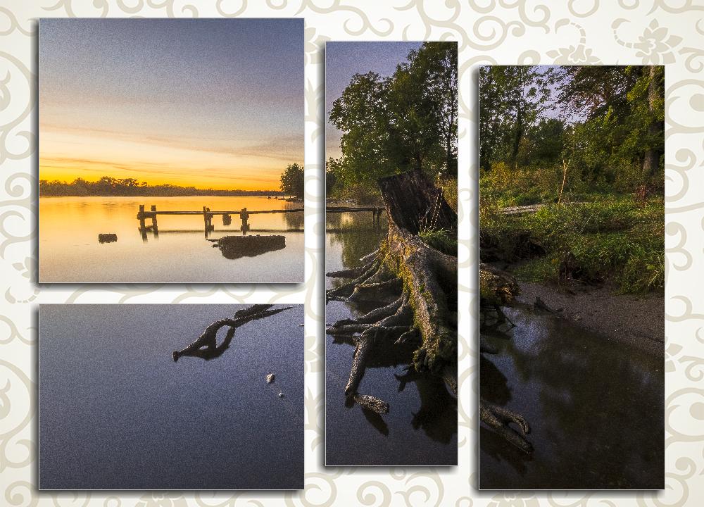 Модульная картина Сказочное утро на реке