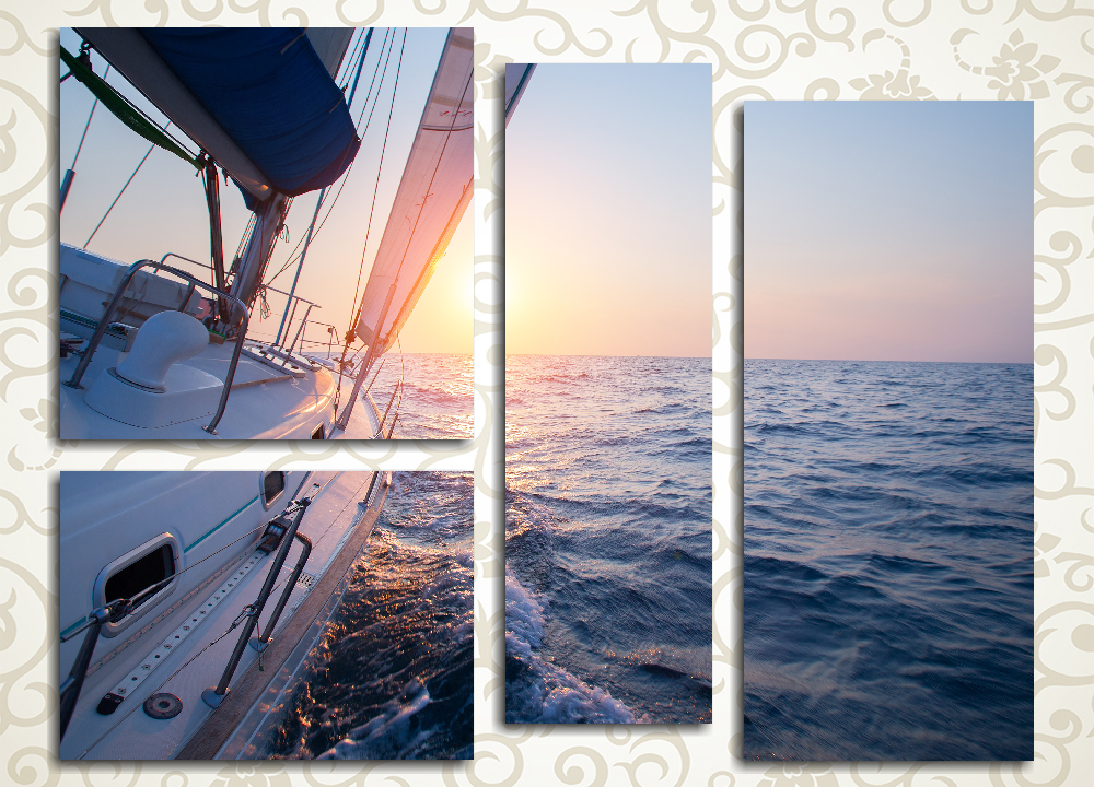 Модульная картина Морская прогулка на закате