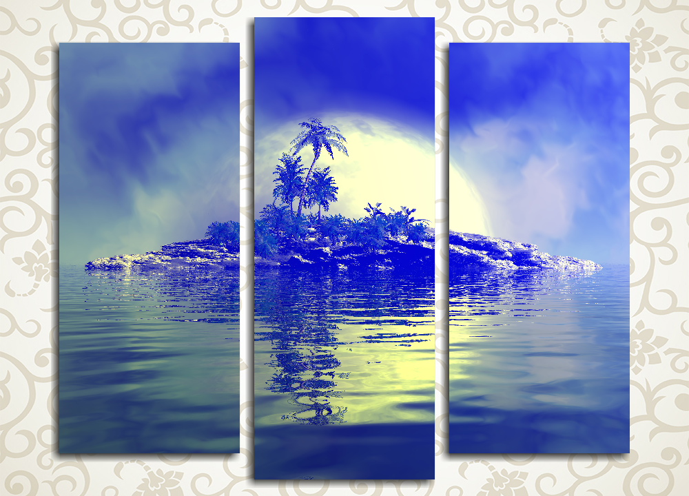 Модульная картина Луна над островом