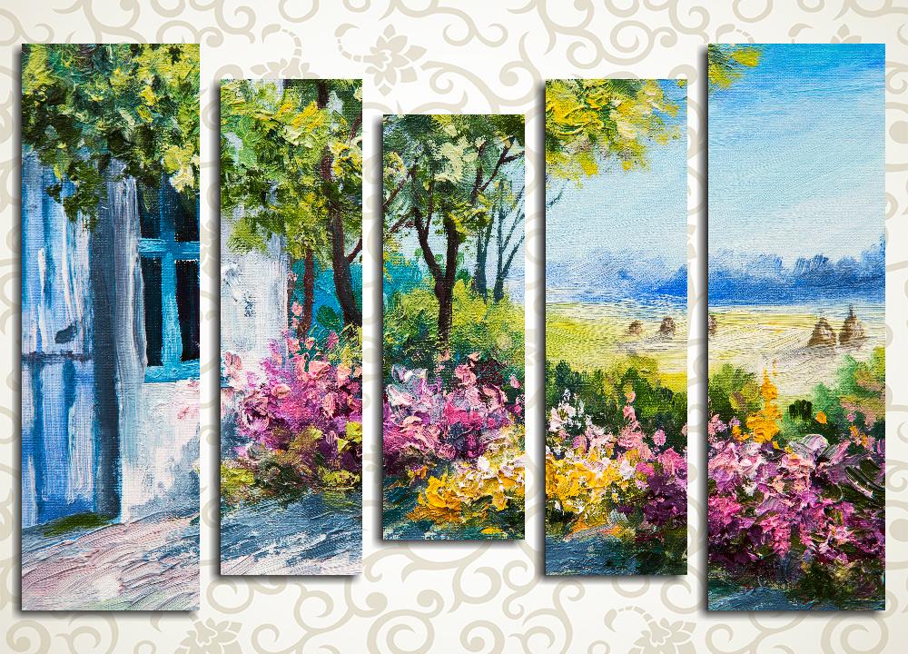Модульная картина Цветы  в летнем саду