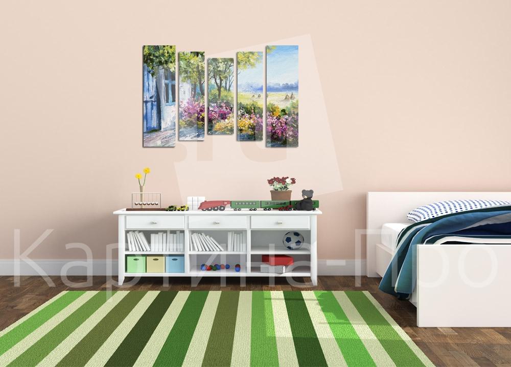 Модульная картина Цветы  в летнем саду от Kartina-Pro