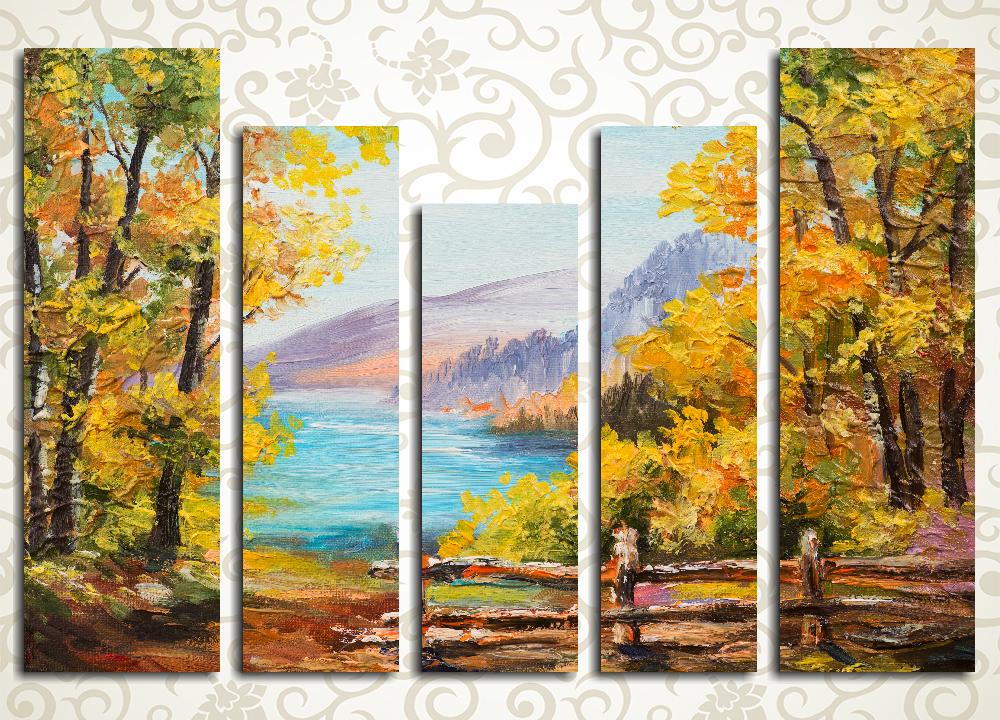 Модульная картина Осень на горном озере