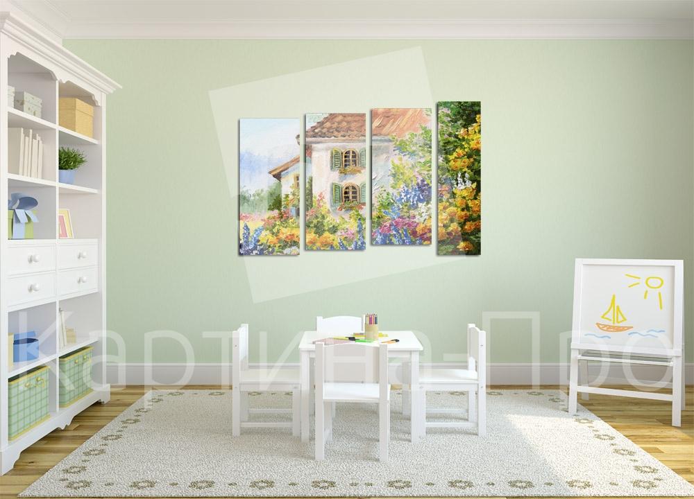 Модульная картина Дом в цветах от Kartina-Pro