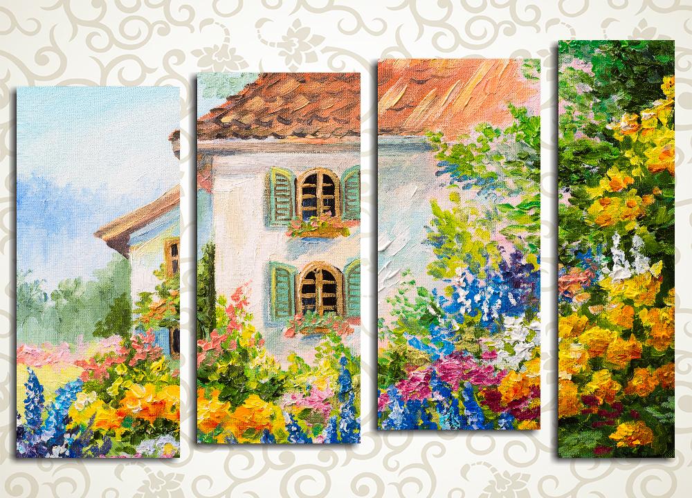 Модульная картина Дом в цветах