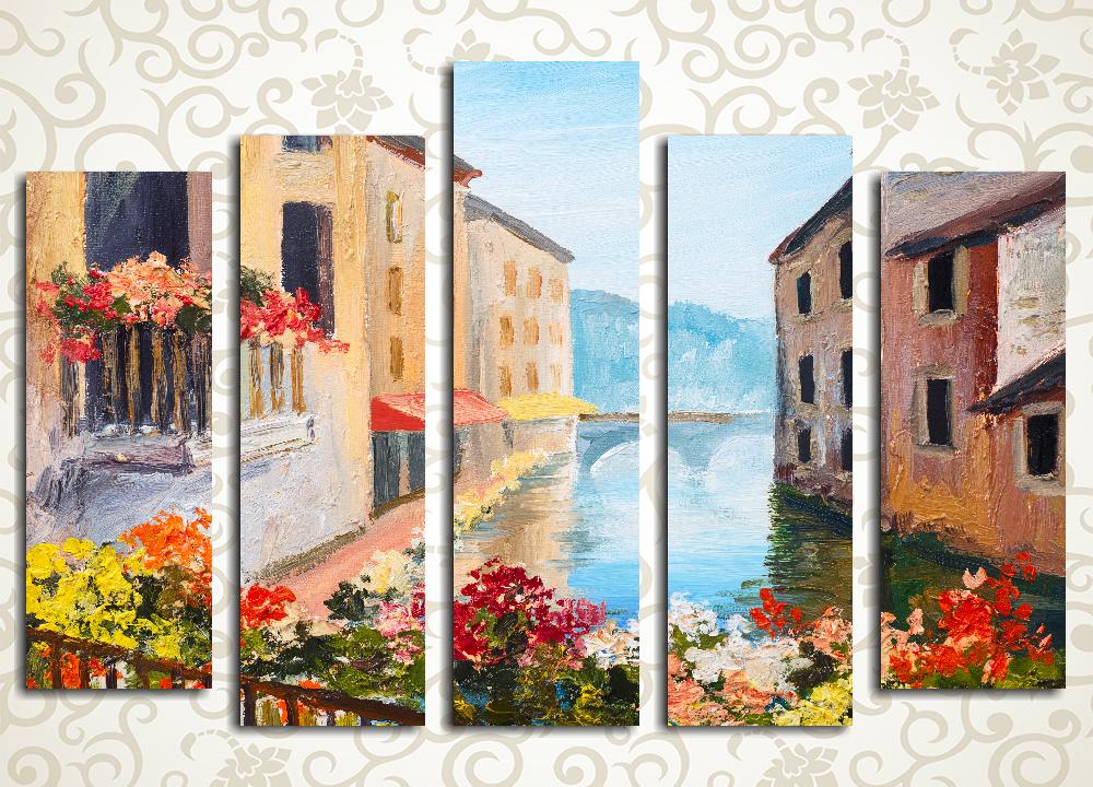 Модульная картина Дома на канале. Венеция (Италия)