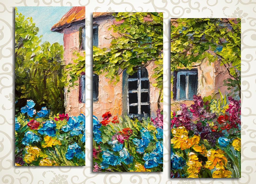 Модульная картина Дом в цветнике