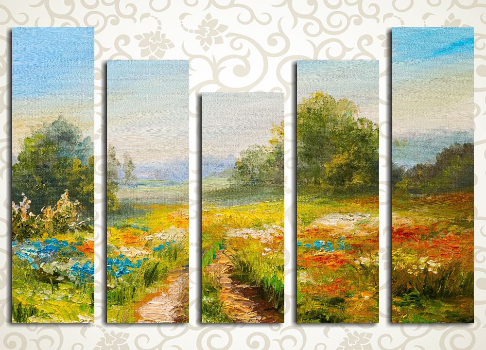 Модульная картина Россыпь полевых цветов