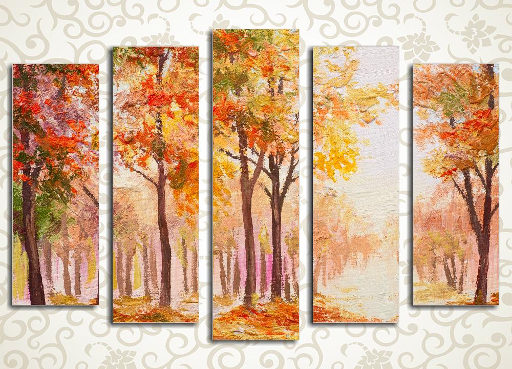 Модульная картина Разноцветие осеннего леса<br>