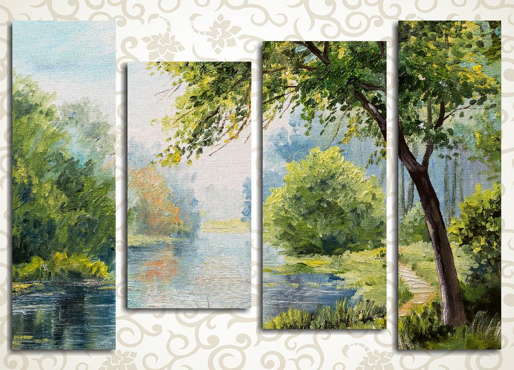 Модульная картина Тропинка вдоль реки