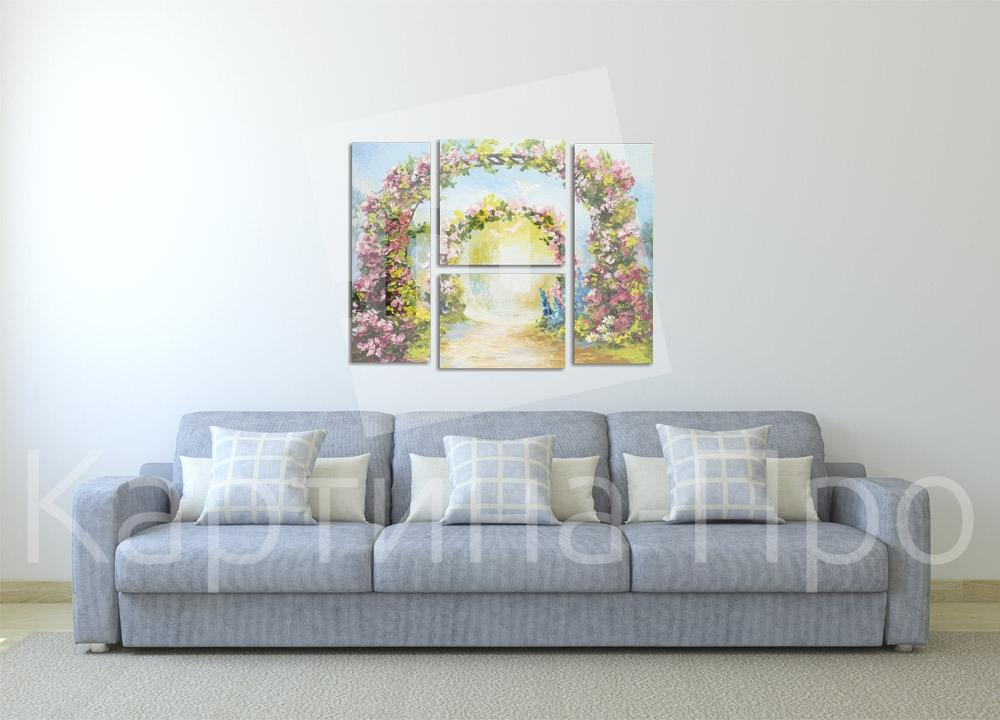 Модульная картина Красочные цветочные арки