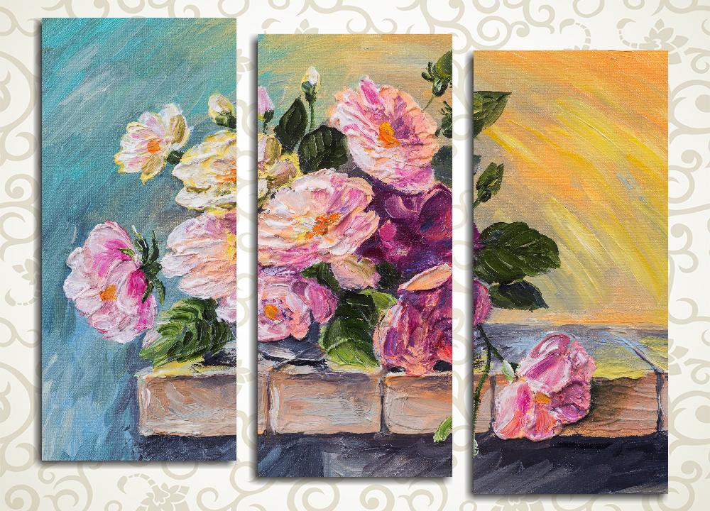 Модульная картина Сиреневый букет цветов