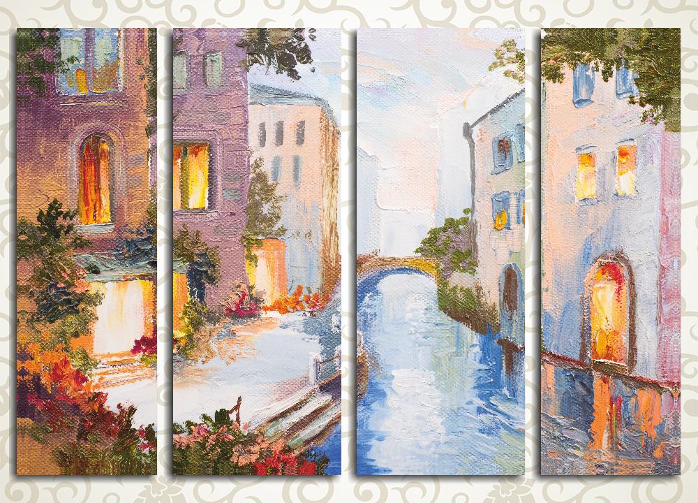 Модульная картина Весна на Венецианском канале (Италия)